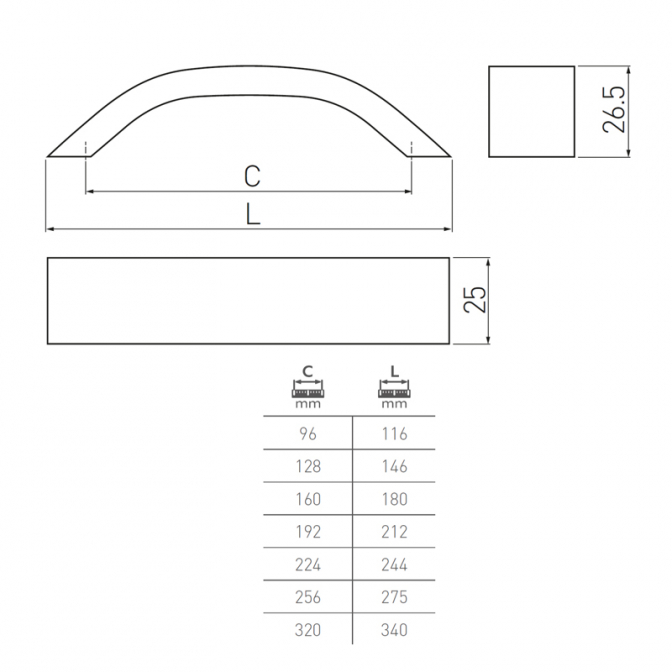 Ручка мебельная UA-337, 160 мм, алюминий, GTV