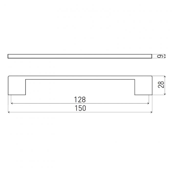 Ручка мебельная D-705, 128 мм, чёрная, DC