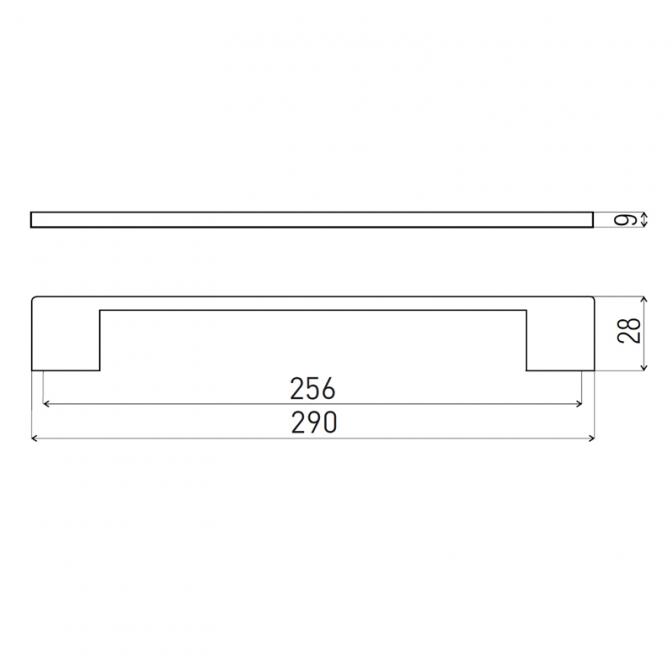 Ручка мебельная D-705, 256 мм, коричневая, DC