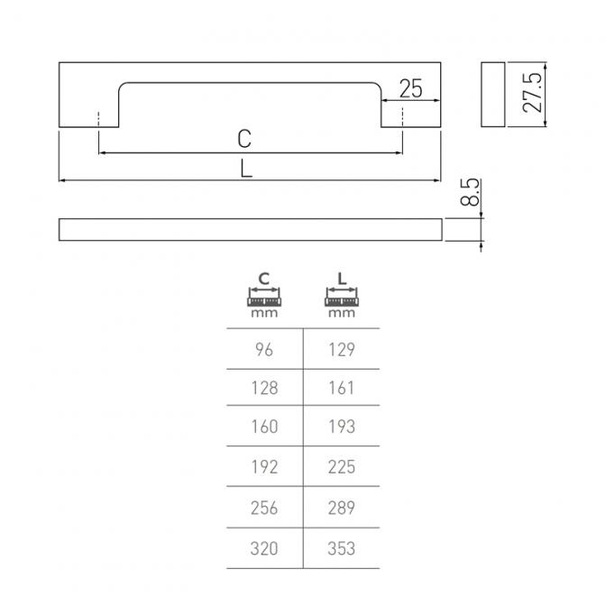 Ручка мебельная UZ-819, 160 мм, золотая латунь, GTV