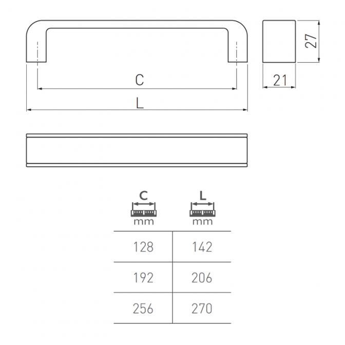 Ручка мебельная Mona, 192 мм, чёрная/хром, GTV