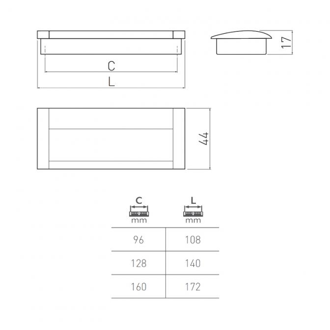 Ручка мебельная UA-326, 160 мм, чёрная, GTV