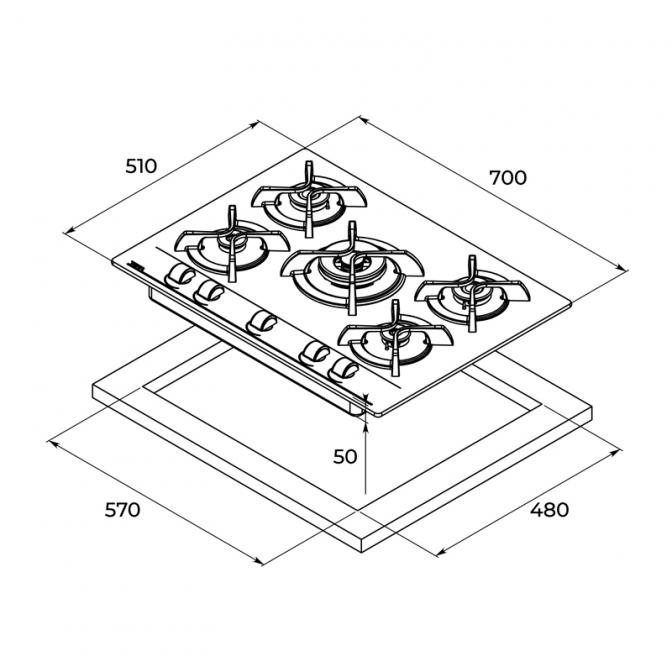 Газовая варочная поверхность Easy GBC 75030 KBN (112580028), Teka